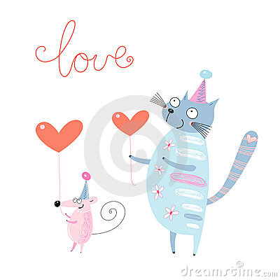Funny cat and mouse with hearts