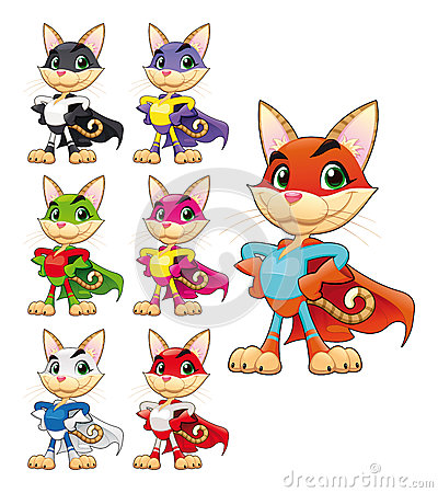 Funny cat super hero.
