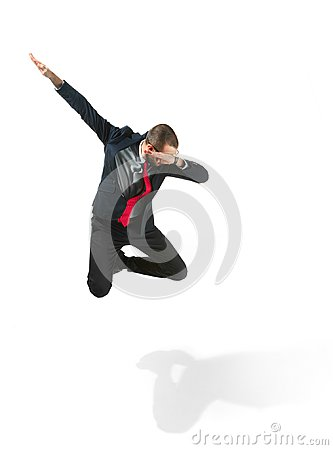 Free Funny Cheerful Businessman Jumping In Air Over White Background Royalty Free Stock Image - 111164686