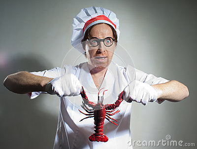 Chef with lobster