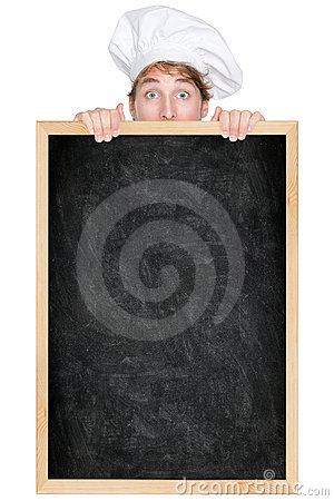 Funny chef showing blackboard menu sign