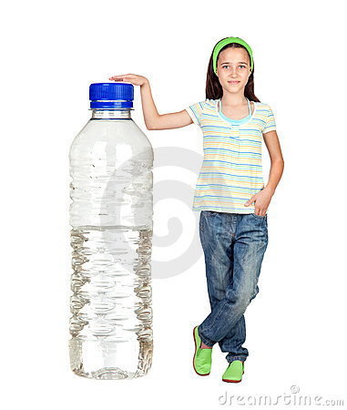 Funny child with a big water bottle