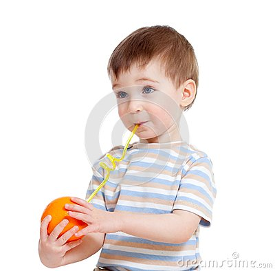 Funny child drinking fruits orange isolated