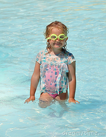 Funny child in the pool