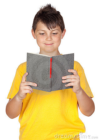 Funny child with reading a book