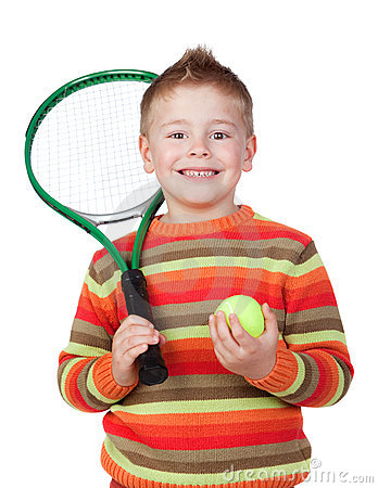 Funny child with a tennis racket