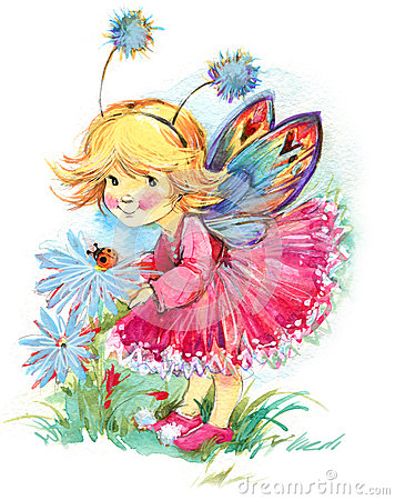 Free Funny Children Fairy Background. Watercolor Drawing Royalty Free Stock Photography - 58206717