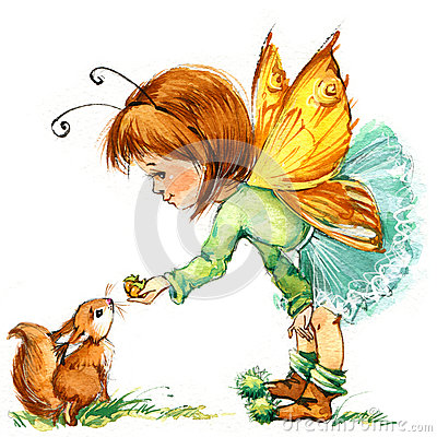 Free Funny Children Fairy Background. Watercolor Drawing Stock Image - 58207001