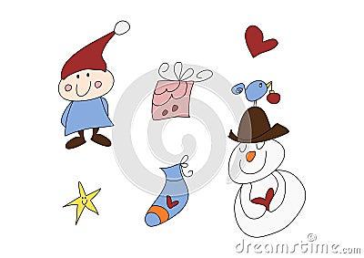 Funny christmas doodle set