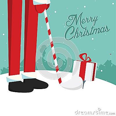 Funny christmas Santa golf postcard