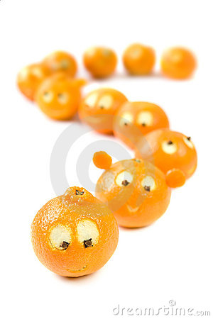Funny clementines in queue
