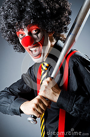 Funny clown with bat