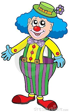Funny clown in big pants