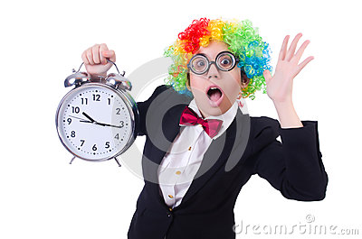Funny clown with clock
