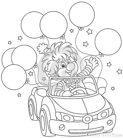 Free Funny Clown Driving His Car With Balloons Stock Photography - 115748382
