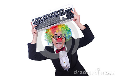 Funny clown with keyboard