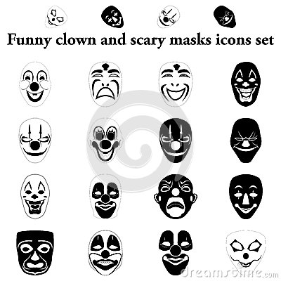 Clown Images further Transparent Dancing Skeleton Gif furthermore Stock Illustration Funny Clown Scary Masks Simple Icons Set Image66304258 in addition Printable Masks additionally . on scary carnival people