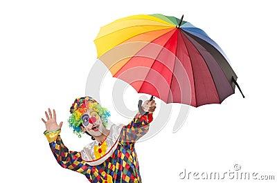 Funny clown on  white