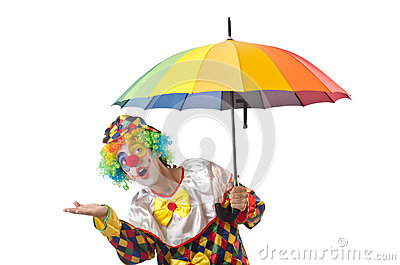 Funny clown on  white