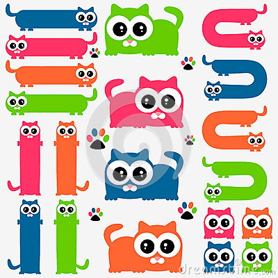 Funny colorful kittens set