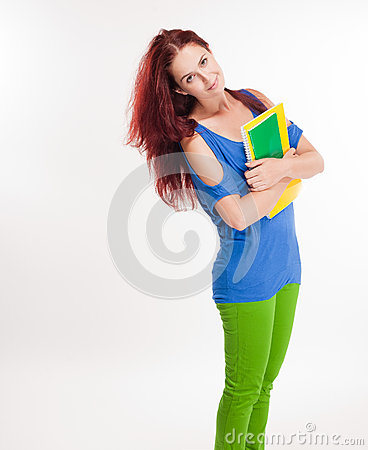 Funny colorful young student.