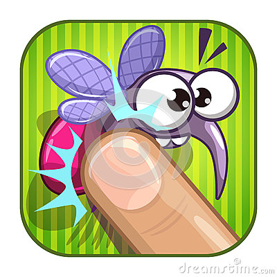 Free Funny Comic App Icon With Squashed Mosquito. Stock Photography - 89971502