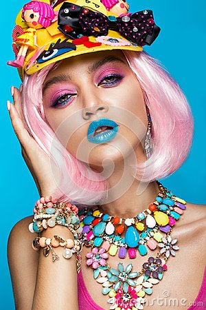 Free Funny Comic Girl With Bright Make-up In The Style Of Pop Art. Creative Image. Beauty Face. Stock Photo - 100105100
