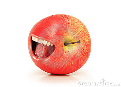 Funny concept with red apple and  mouth
