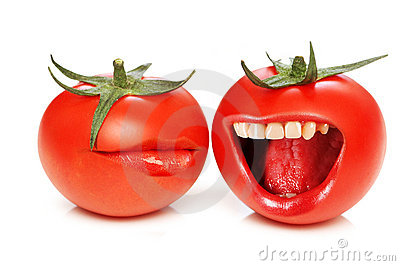 Funny concept with tomatoes and  mouth