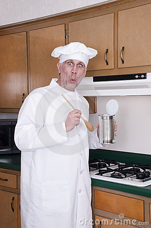 Funny Cook Chef Cooking Out of Can on Stove