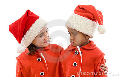 Funny couple of girls in Christmas