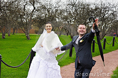 Funny couples in wedding walk