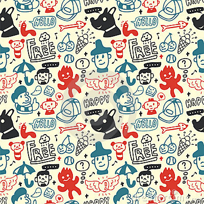 Funny creatures collection. Seamless pattern.
