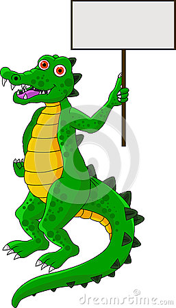 Funny Crocodile With Blank Sign Stock Photos - Image: 27220653