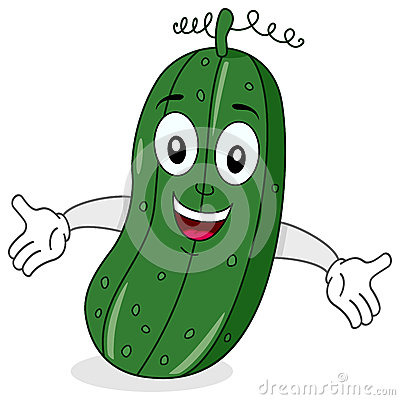 Funny Cucumber Character Smiling