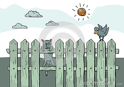 Funny curious cat standing on fence