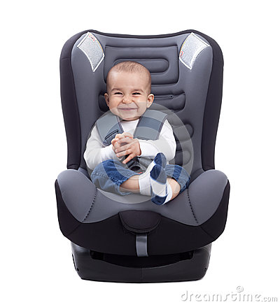 Free Funny Cute Baby Sitting In A Car Seat, Isolated Stock Photo - 53275270