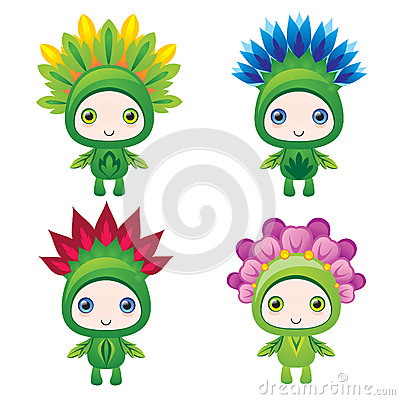 Funny cute flower monster guys
