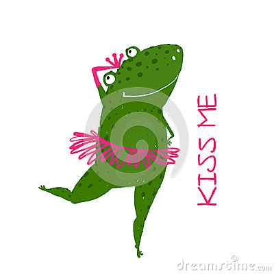 Free Funny Cute Frog With Crown Dancing Stock Image - 54878241