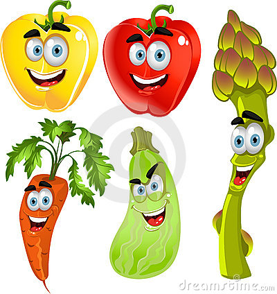 Funny cute peppers,asparagus,carrots,zucchini
