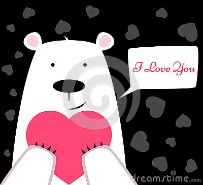Free Funny Cute Polar Bear With Heart. Valentine S Day Royalty Free Stock Image - 107547186