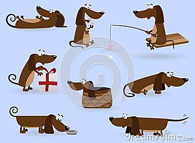 Funny dachshund set