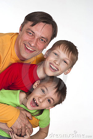 Funny dad and two sons