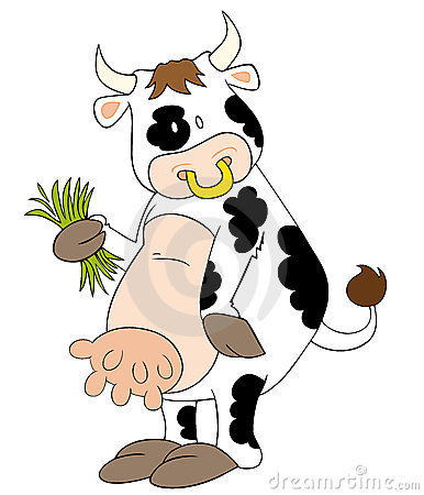 Funny dairy cow with grass blades.
