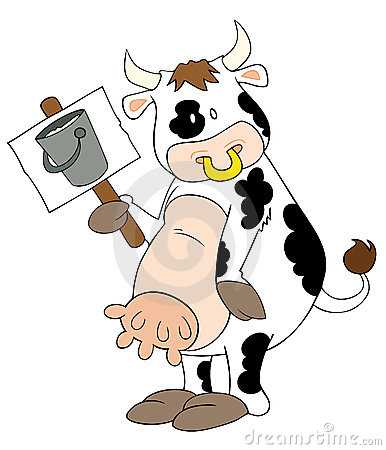 Funny dairy cow with placard.