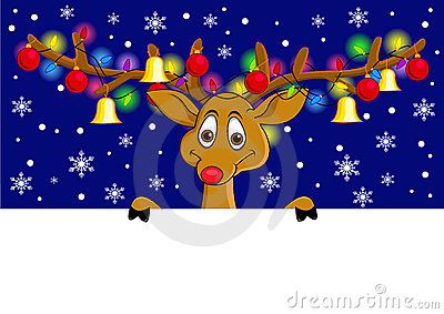 Funny deer cartoon with Christmas lamp