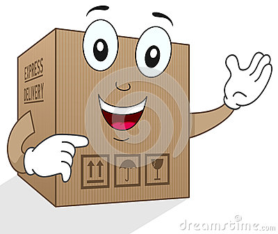 Funny Delivery Cardboard Box Character