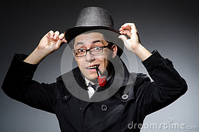 Funny detective with pipe