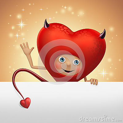 Funny devil Valentine heart cartoon holding banner