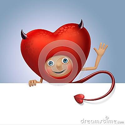 Funny devil Valentine heart cartoon holding banner